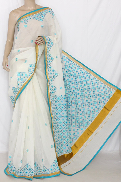 Off-White Pherozi Embroidered Kerala Cotton Handloom Saree (With Blouse) 13771
