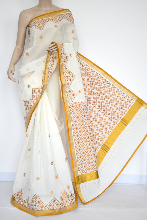 Off-White, Mustared Embroidered Kerala Cotton Handloom Saree (With Blouse) 13773
