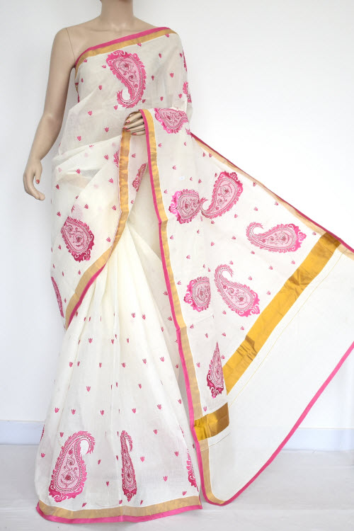 Off-White, Pink Embroidered Kerala Cotton Handloom Saree (With Blouse) 13777