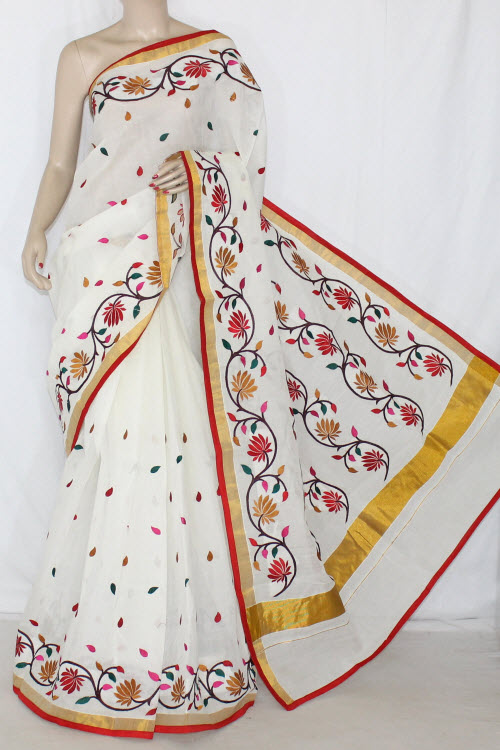 Off-White Red/Mustared Embroidered Kerala Cotton Handloom Saree (With Blouse) 13778