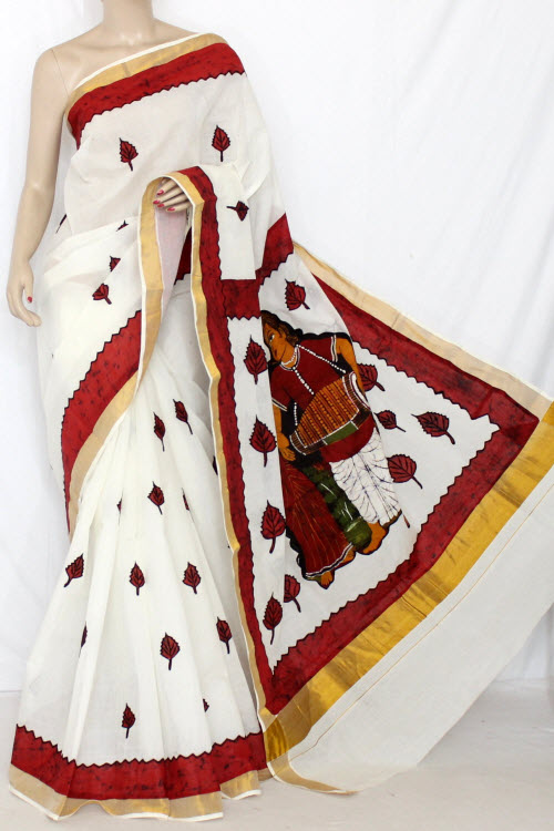 Off-White Maroon Applique Work Kerala Cotton Handloom Saree (With Blouse) 13787