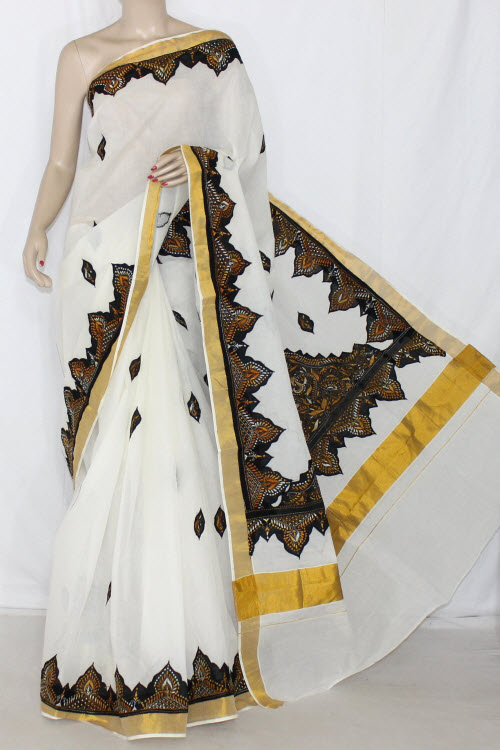 Off-White, Black Applique Kantha Hand Embroidered Kerala Cotton Handloom Saree (With Blouse) 13790