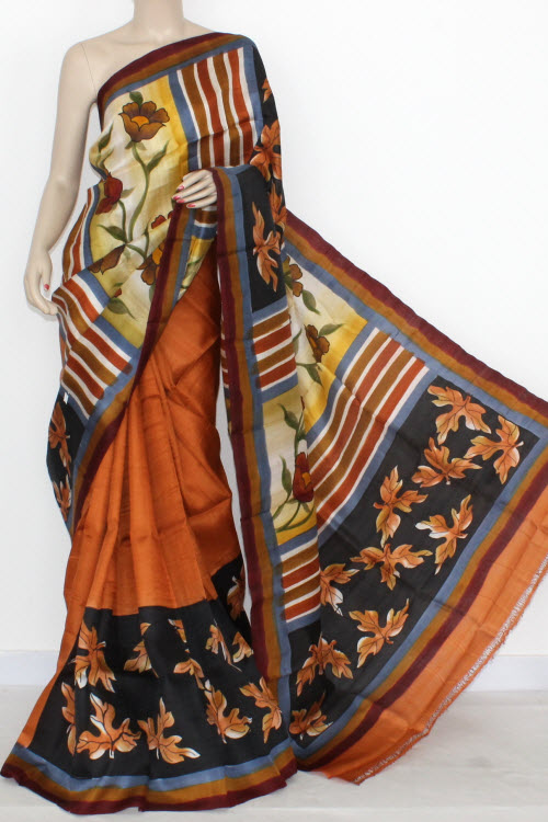 Orange Double Knitted Murshidabadi Hand Print Pure Silk Saree (With Blouse) 13818
