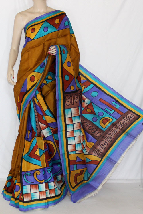 Mustared Blue Double Knitted Murshidabadi Hand Print Pure Silk Saree (With Blouse) 13819