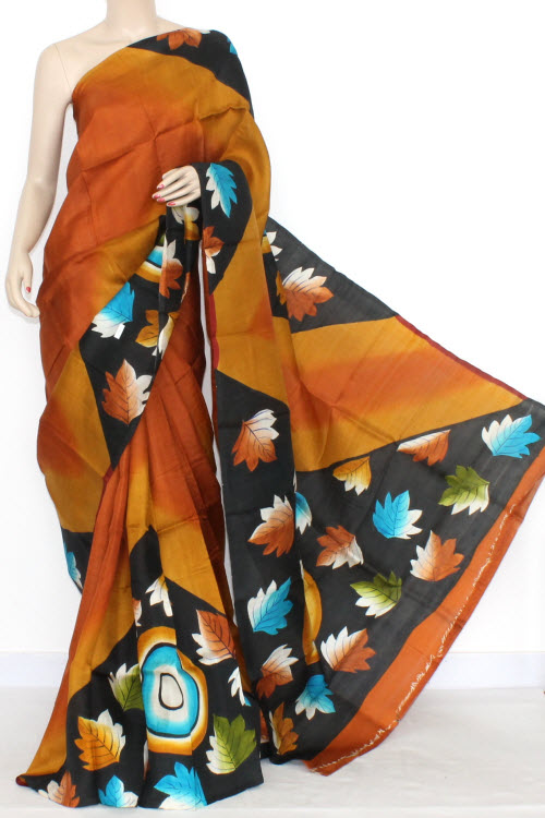 Rust Designer Handprinted Double Knitted Bishnupuri Pure Silk Saree (With Blouse) 13821