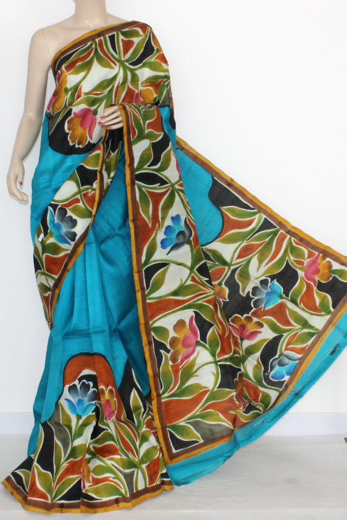 Pherozi Blue Designer Handprinted Double Knitted Bishnupuri Pure Silk Saree (With Blouse) 13822