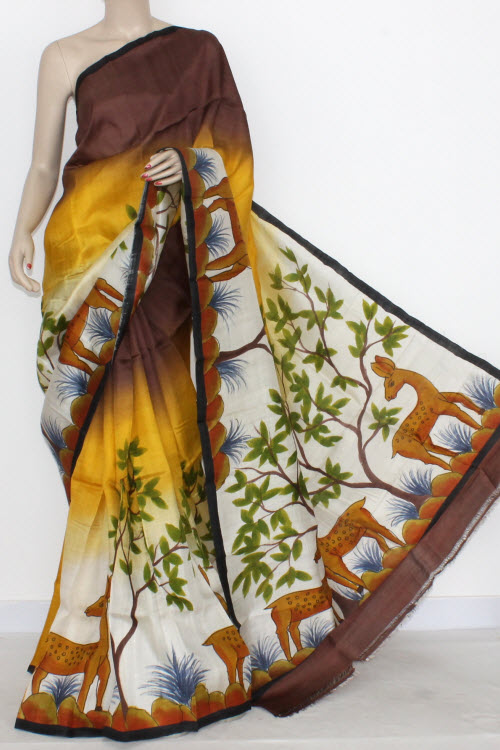 Yellow Coffee Designer Handprinted Double Knitted Bishnupuri Pure Silk Saree (With Blouse) 13823