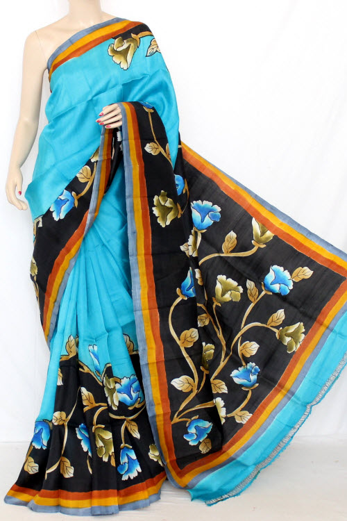 Pherozi Blue Double Knitted Murshidabadi Hand Print Pure Silk Saree (With Blouse) 13827