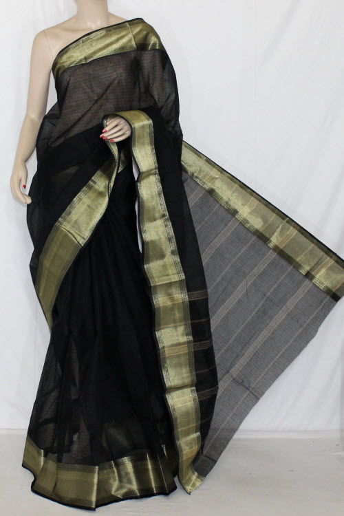 Black Handwoven Bengal Tant Cotton Saree (Without Blouse) 13848