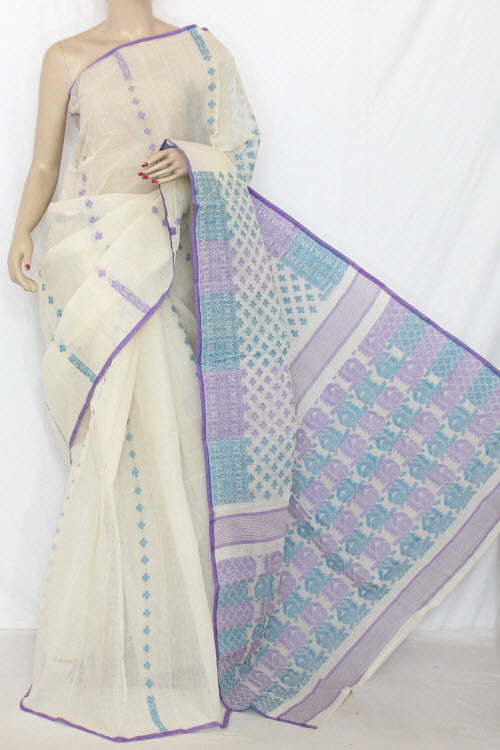 Off White Handwoven Bengal Tant Cotton Saree (Without Blouse) Jamdani 13870