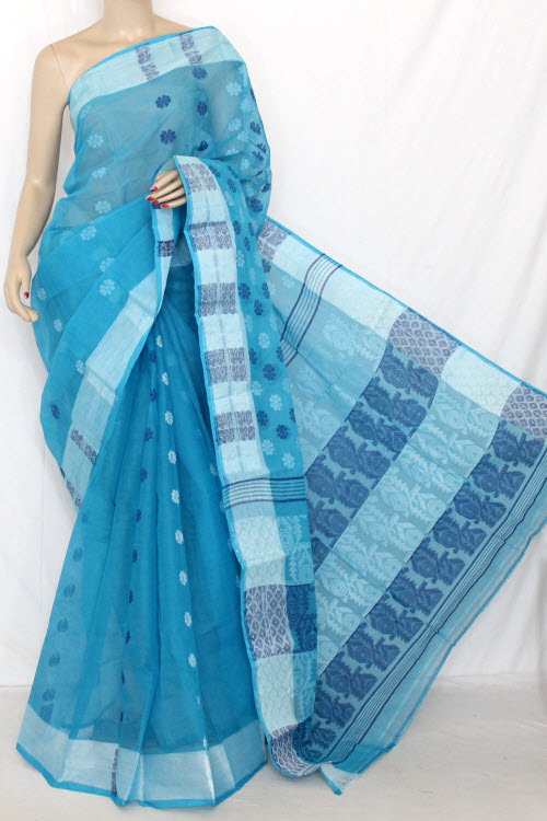 Pherozi Blue Handwoven Bengal Tant Cotton Saree (Without Blouse) Jamdani 13871