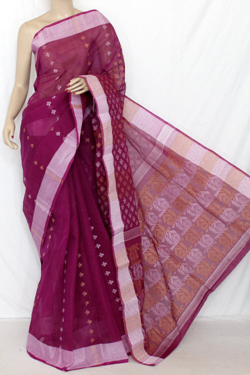 Magenta Handwoven Bengal Tant Cotton Saree (Without Blouse) Jamdani 13872