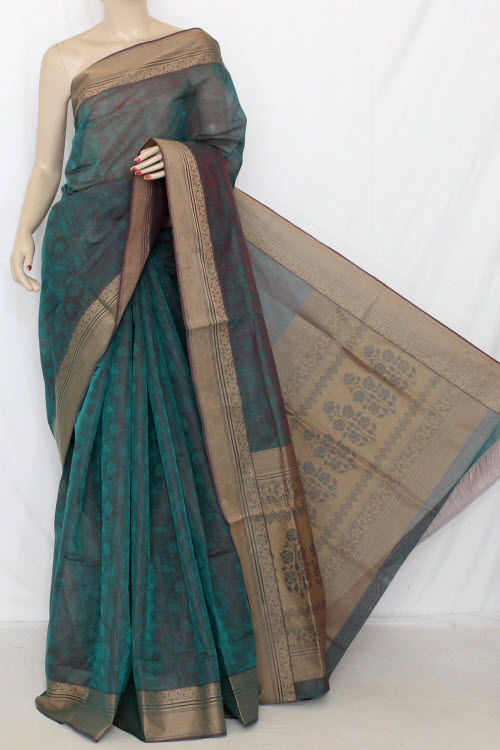 Green Dhoop-Chhaon South Cotton Handloom Saree (With Blouse) 13899