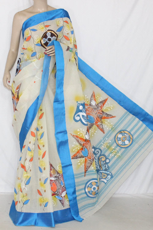 Off-White Hand-printed Bengal Tant Cotton Saree (Without Blouse) 13911
