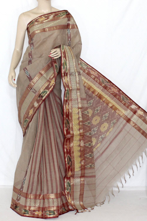 Beige Handwoven Dhaniakhali Bengali Tant Cotton Saree (Without Blouse) 13925
