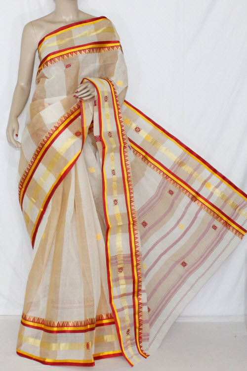 5ae2a1b183 Off-White Red Handwoven Dhaniakhali Bengali Tant Cotton Saree (Without  Blouse) 13946