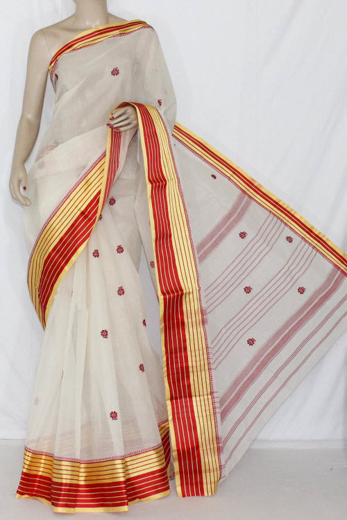Off-White Handwoven Dhaniakhali Bengali Tant Cotton Saree (Without Blouse) 13950