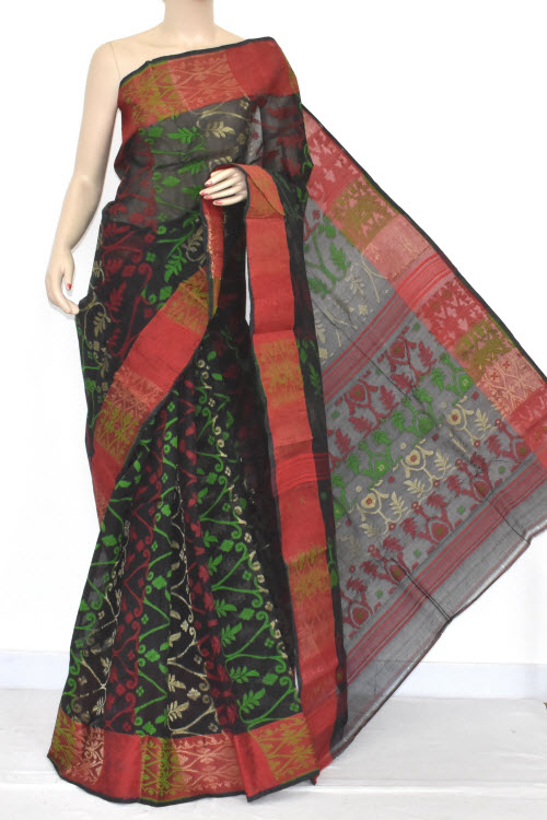 Black Red Handwoven Bengali Tant Cotton Jamdani Saree (Without Blouse) 13961