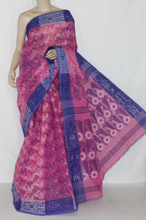 Pink Blue Handwoven Bengali Tant Cotton Jamdani Saree (Without Blouse) 13971