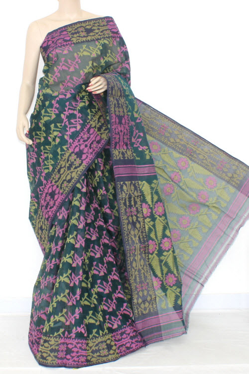Bottle Green Pink Handwoven Bengali Tant Cotton Jamdani Saree (Without Blouse) 13979