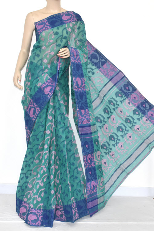 Sea Green Handwoven Bengali Tant Cotton Jamdani Saree (Without Blouse) 13983