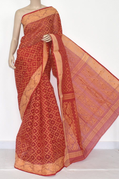 Red Handwoven Bengali Tant Cotton Jamdani Saree (Without Blouse) 13984