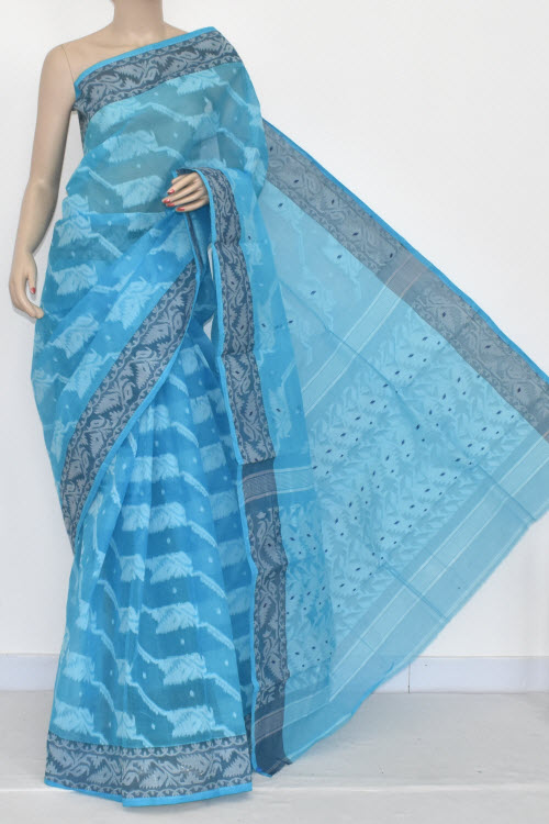 Pherozi Blue Handwoven Bengali Tant Cotton Jamdani Saree (Without Blouse) 13993