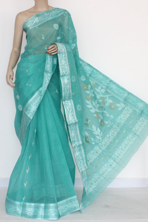 Sea Green Handwoven Bengali Tant Cotton Saree Silver Zari Border (Without Blouse) 14003