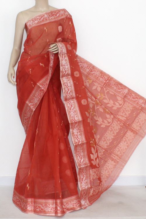 Rust Handwoven Bengal Tant Cotton Partywear Saree (Without Blouse) Resham Border 14007