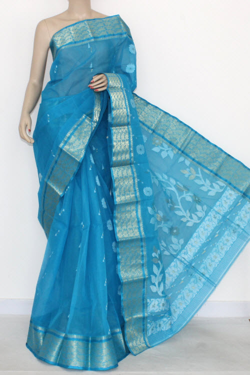 Pherozi Handwoven Bengal Tant Cotton Partywear Saree (Without Blouse) Zari Border 14010