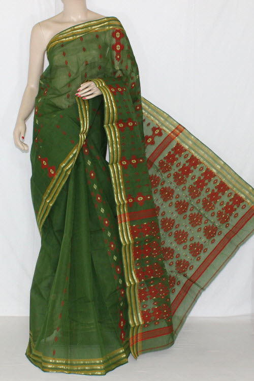 Bottle Green Red Handwoven Bengali Tant Cotton Saree (Without Blouse) Zari Border 14019