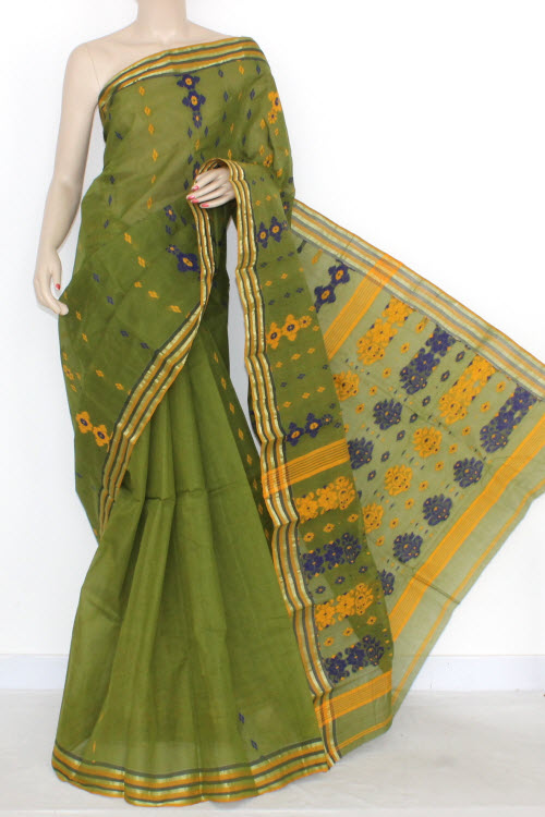 Menhdi Green Border Handwoven Bengal Tant Cotton Saree (Without Blouse) 14020
