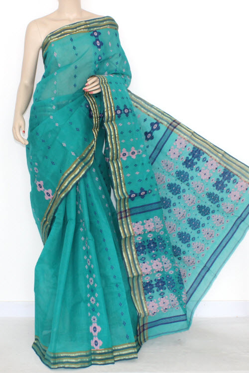 Sea Green Border Handwoven Bengal Tant Cotton Saree (Without Blouse) 14021