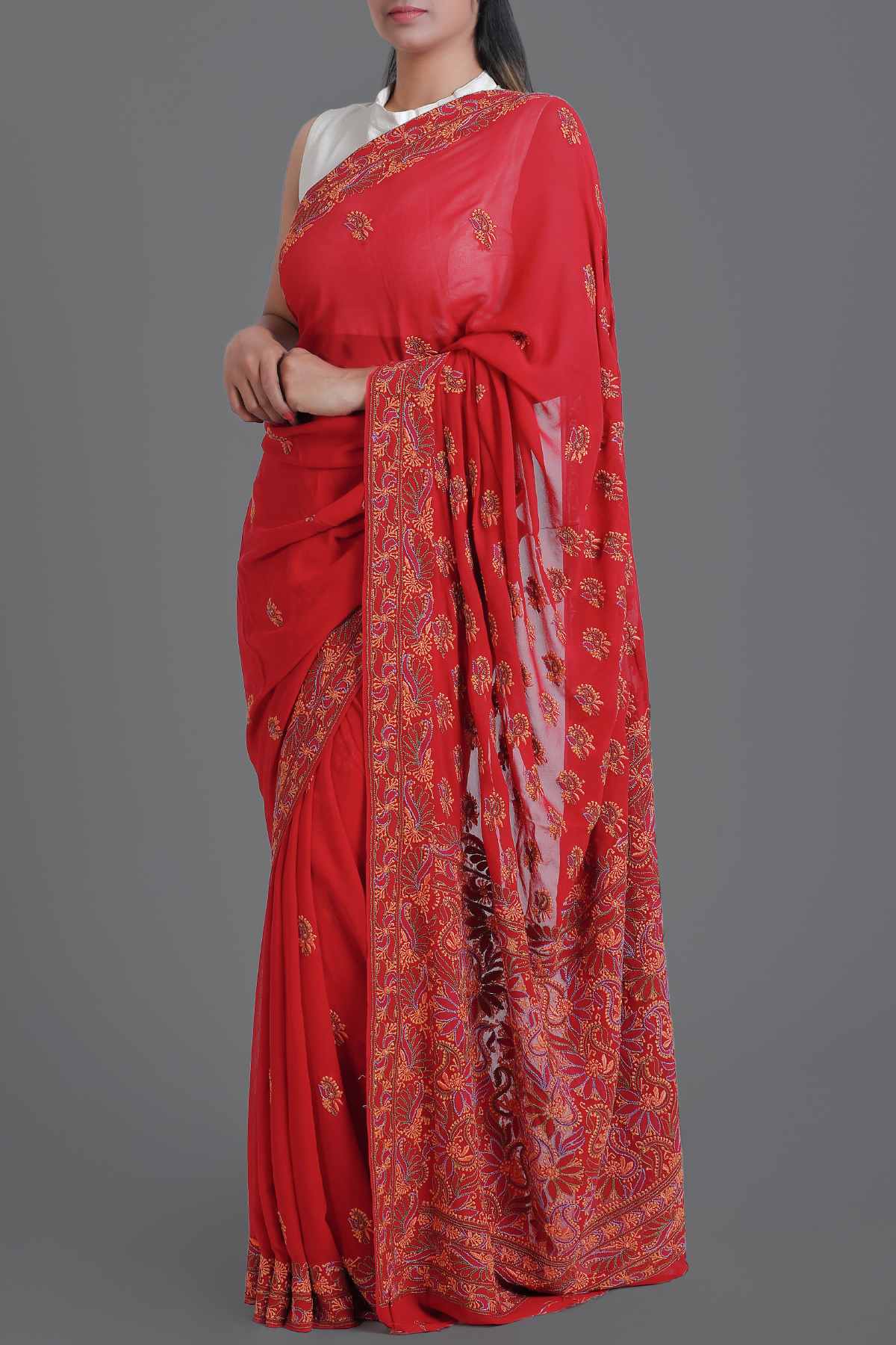 Red Hand Embroidered Lucknowi Chikankari Work Saree - Pure Georgette-ga250572