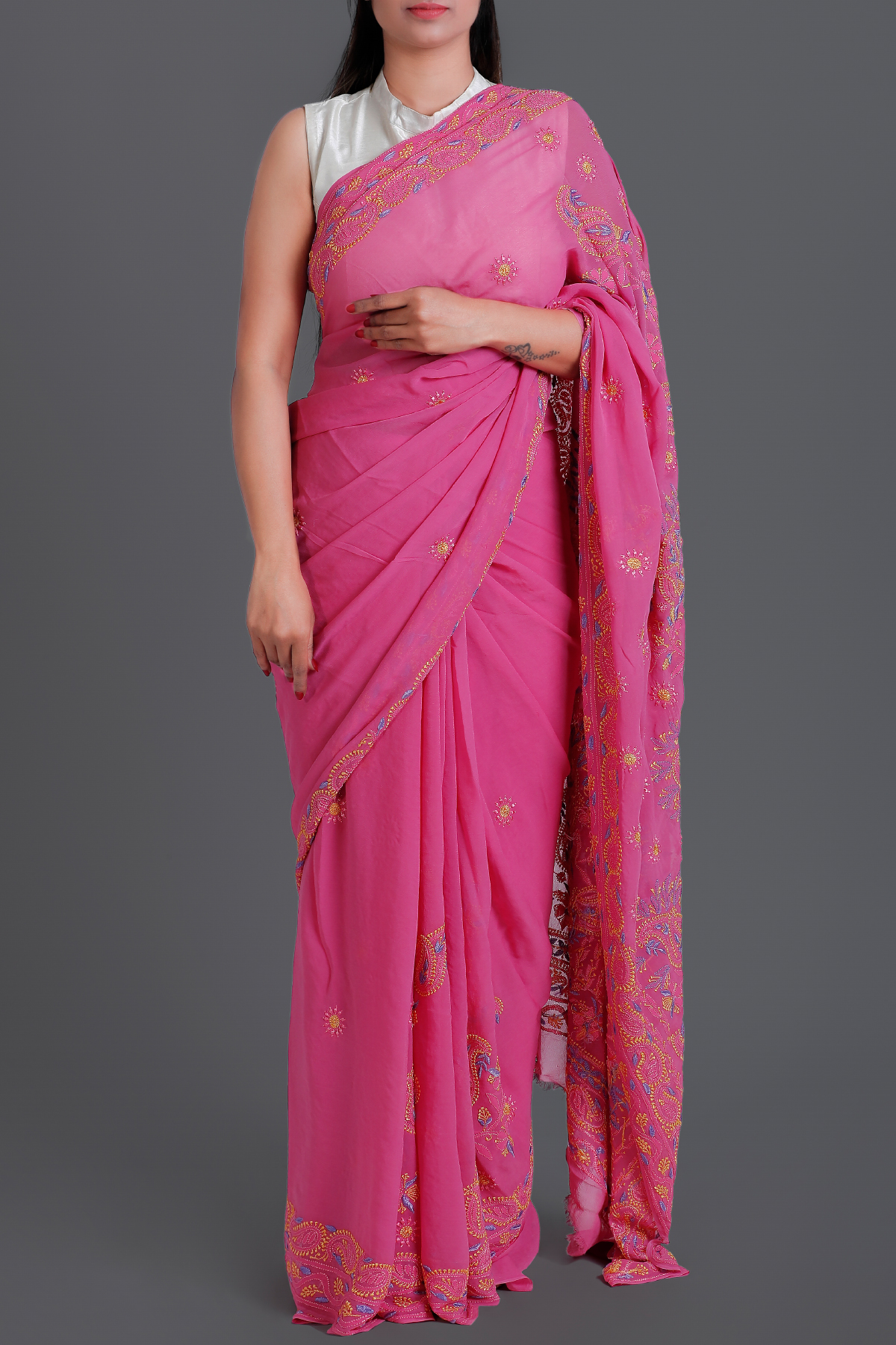 Pink Hand Embroidered Lucknowi Chikankari Work Saree - Pure Georgette-ga250573