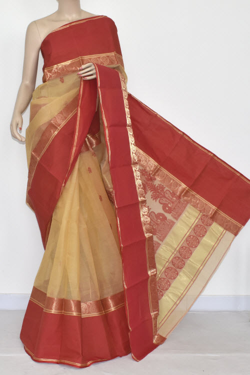 Dark Fawn Handwoven Bengali Tant Cotton Saree (Without Blouse) Red Border 14023