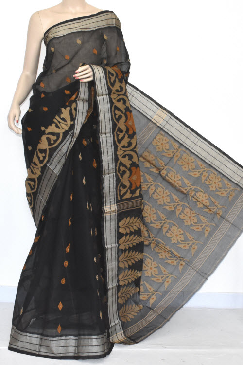 Black Exclusive Handwoven Bengali Tant Cotton Saree (Without Blouse) Munga Border 14024