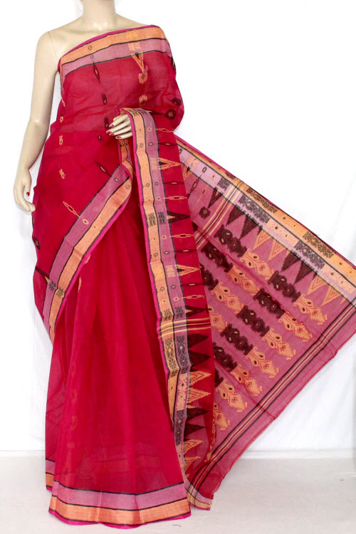 Rani Handwoven Bengali Tant Cotton Saree (Without Blouse) Jamdani 14029