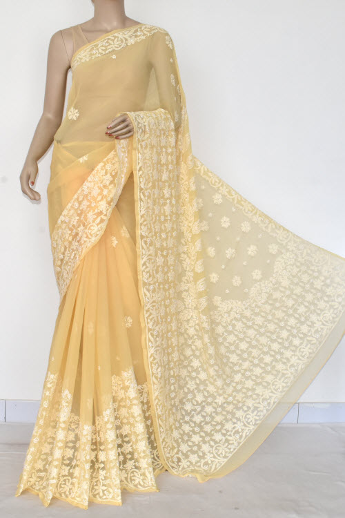 Light Orange Hand Embroidered Lucknowi Chikankari Saree (Georgette-With Blouse) 14599