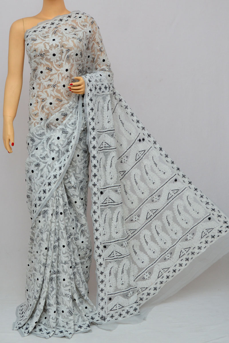Squirrel Grey Color Allover Jaal Heavy Palla Lucknowi Chikankari Saree (With Blouse - Georgette) MY250269