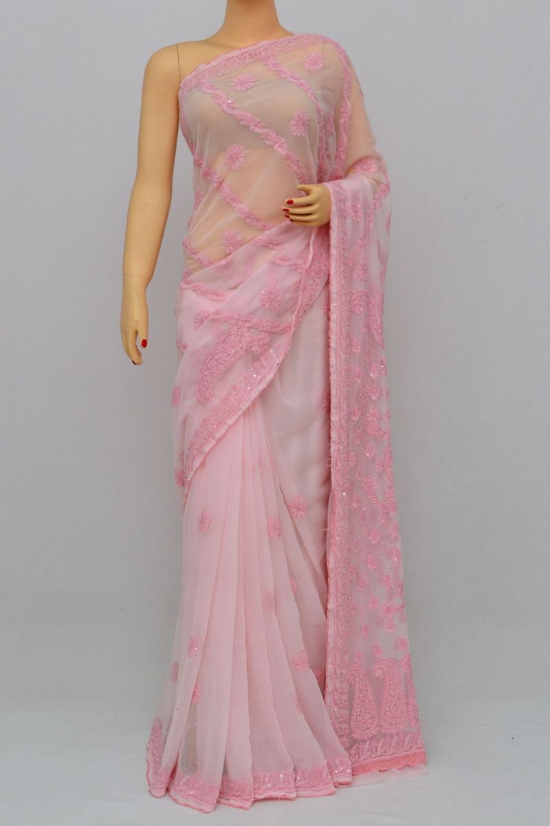 Baby Pink Color Full Chhadi Mukaish Work Hand Embroidered Lucknowi Chikankari Saree (with Blouse - Georgette) Hs250270