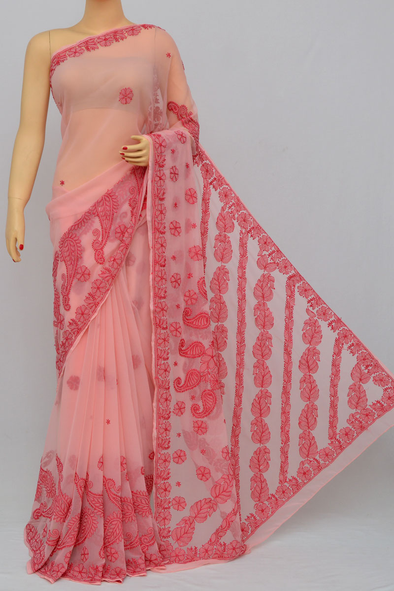 Rose Color Designer Hand Embroidered Lucknowi Chikankari Saree (with Blouse - Georgette) Hs250271