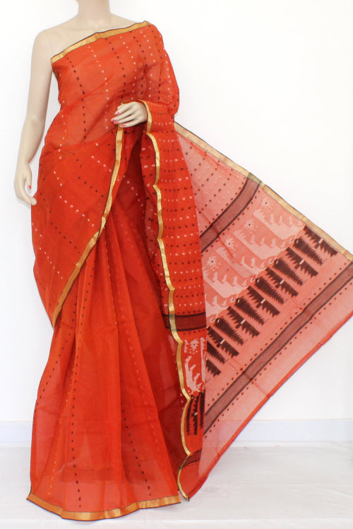 Rust Color Handwoven Thousand Booti Bengal Tant Cotton Saree (without Blouse) 14036