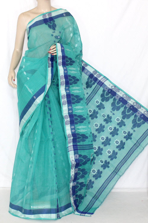 Sea Green Blue Handwoven Bengali Tant Cotton Saree (Without Blouse) 14049