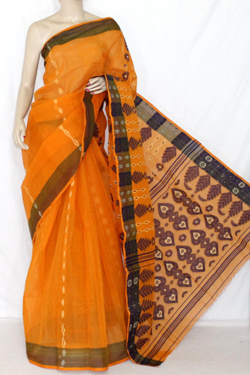 Orange Blue Handwoven Bengali Tant Cotton Saree (Without Blouse) 14056