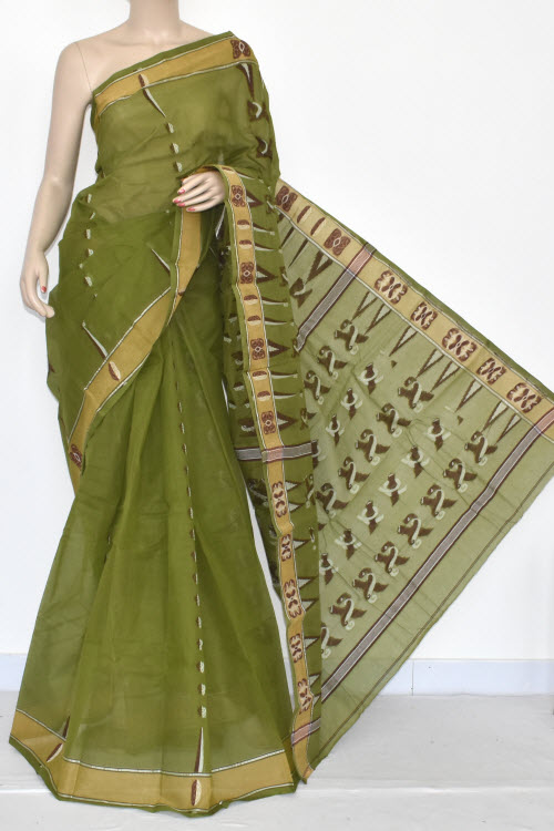 Menhdi Green Handwoven Bengali Tant Cotton Saree (Without Blouse) 14061