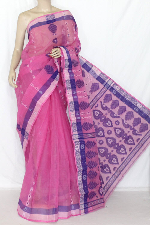 Pink Blue Handwoven Bengali Tant Cotton Saree (Without Blouse) 14062