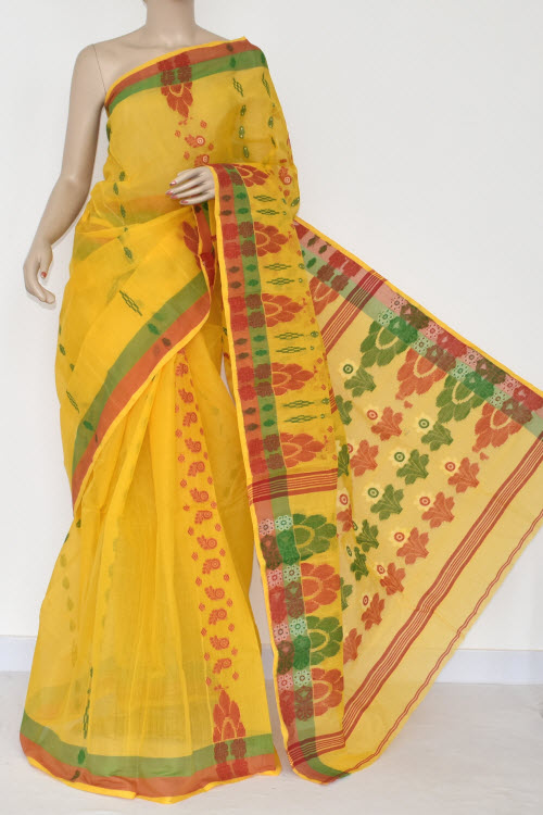 Yellow Handwoven Bengal Tant Cotton Saree (Without Blouse) 14063