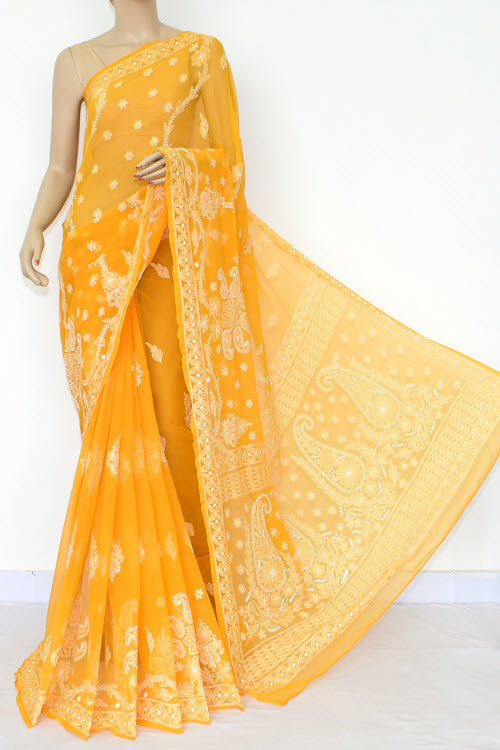 Orange Hand Embroidered Lucknowi Chikankari Saree (Georgette-With Blouse) 14653