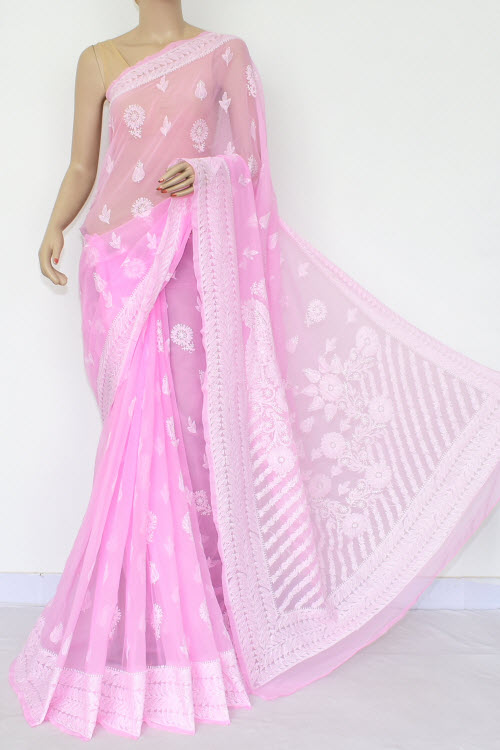 Pink Hand Embroidered Lucknowi Chikankari Saree (Georgette-With Blouse) 14660